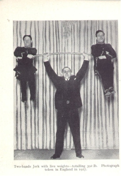 Page 31: Hermann Goerner jerking what is purported to be a total of 392 lbs. The apparatus seems minimal, the two men appear very light. Are these two men the same men on page 43?