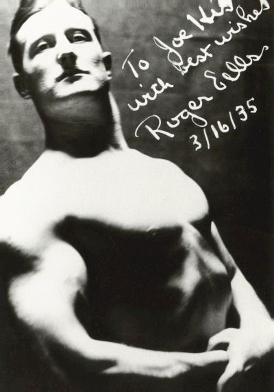 Roger Eells at age 23 signed this photo to his friend Joseph Curtis Hise. Eells Sep 7, 1909 to Nov 6, 1952