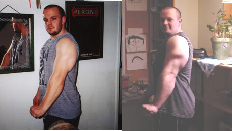 Spring 2000--220-230 pounds, 18 inch arms.  On the right: Spring 2002, 235 pounds, and 19 inch arms.  The lesson?  If you want to get big, lift big weights.