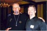 "Steve Weiner (3Crusher) with ""The Hammer Man"" at the 2002 AOBS Dinner. Steve is approximately 6'2"" and 245lbs."