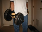 175lb Snott dumbbell.  [editor's note: What's with the GLOVES John!]