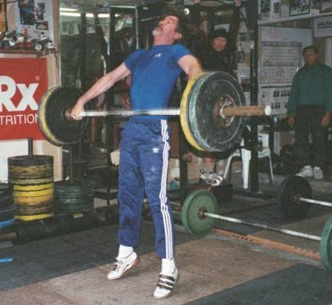 72.5 kg pull and extension -- note the form.  Mike Burgener is looking on.