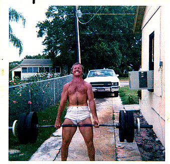 A 1974 garage deadlift.  Only it was too hot in the garage.