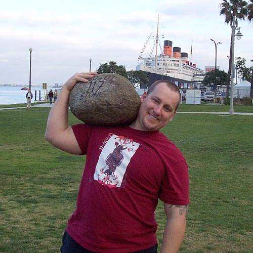 Floyd Lloyd with the idiot stone.