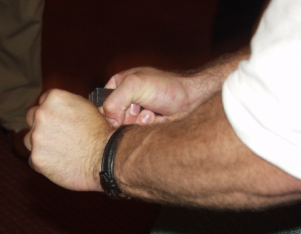 Pat Povilaitis shows his bending technique.