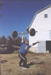 "Matt Graham 1 hand C&J with 185lbs - 2"" bar on grass platform!"