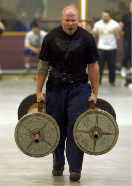 250lb Farmers Walk - Brian gets 1st!